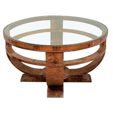 art deco coffee table round art french glass top coffee table with burled finish a vintage art coffee table in wood with burled veneer and a round glass top