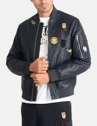 armani exchange faux leather patch er jacket pu for men a x