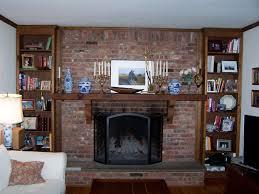 image of brick fireplace mantel shelf