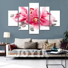 5 piece canvas art flower wall painting red lily canvas prints home decor pictures set on flower wall art prints with 5 piece canvas art flower wall painting red lily canvas prints home