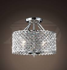 helina chrome and crystal light round ceiling flush mount