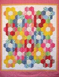 How to make a hexagon quilt with half hexies – free quilt pattern ... & Charming bright print Nana's Flower Garden ( strip piece assembly) , by  Kathy Klassen x Half hexagons Adamdwight.com