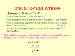 5 one step equations example 1 solve