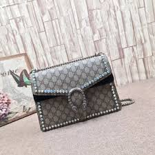 gucci 403348. gucci dionysus gg supreme shoulder bag with crystals black 403348