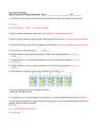 Water Potential Equation Ws Water Potential Ans 1415_2