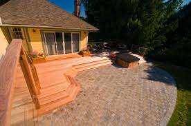paver patio with deck. Modren Deck Hard Wood Deck And Paver Patio Contemporarylandscape In Paver Patio With Deck A