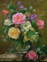 roses in a glass vase painting albert williams roses in a glass vase art print