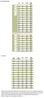Evolv Shoe Size Chart Evolv Size Guide