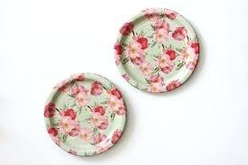Pink Flower Paper Plates Floral Paper Plates 8 Floral Tea Party Paper Plates Vintage Style