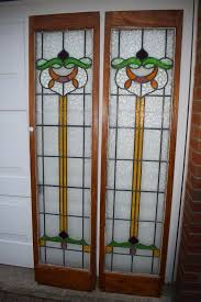 2 stained leaded glass panels doors