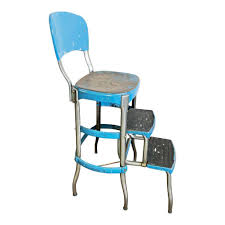vintage cosco step stool chair blue industrial metal folding mid century shabby 1 of 9 see more