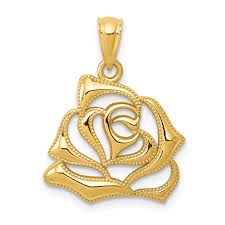 icecarats 14k yellow gold rose pendant charm necklace flower gardening for women com