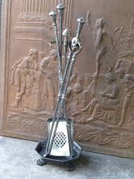 antique fireplace tools fire 052 l british 19th c polished steel tool set and stand for
