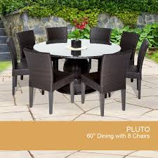 espresso pluto 60 inch outdoor patio dining table with 8 chairs design furnishings