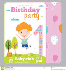 Birthday Party Invitation Card Template Free Birthday Party Invitation Card Template With Cute Stock Vector