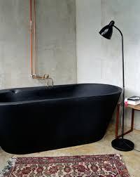 Bathroom: Black Tubs With Victorian Tiled Floor - Black Bathtub