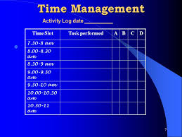 time management log time management give the test of time management and assess ppt