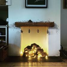 Fairy Lights For Mantle Christmas Fireplace Logs And Fairy Lights Christmas