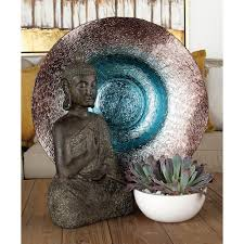 Turquoise Decorative Bowl Gradated Terra Cotta Red to Turquoise Rippled Glass Decorative 48