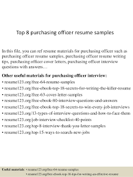 Resume Purchasing Top 8 Purchasing Officer Resume Samples