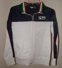 fila kids clothes. fila italia sport zip up jacket youth l (14-16) pockets soccer track white blue kids clothes