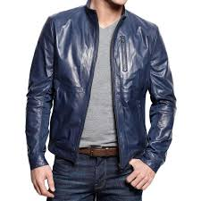 men s navy blue casual leather jacket