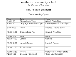 Sample Schedules Schedule Sample In Word Microsoft Word PreK 24 Sample Schedulesdocx South City Community 13