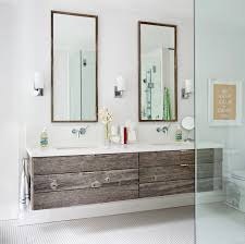 white wooden bathroom furniture. Reclaimed Wooden Two Floating Vanity With White Porcelain Top Also Modern Wall Light Fixture Beside Mirrored Frame Bathroom Furniture