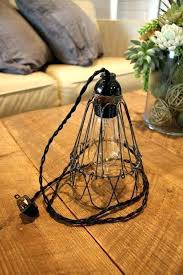 plug in hanging pendant pendant light with plug industrial cage wire hanging pendant light or desk