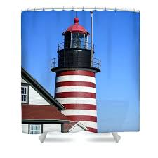 shower curtain featuring the photograph red white striped lighthouse by and target