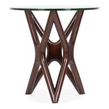 star glass top side table walnut cm dia  living room furniture