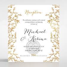 wedding reception card golden floral frame exquisite wedding reception card de