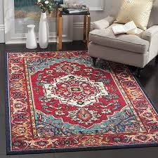 safavieh monaco collection mnc207c modern oriental medallion red and turquoise distressed area rug 8