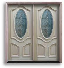 oak exterior door 3 4 oval with black caming 32 w prehung double doors