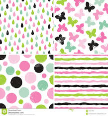 Seamless Hipster Patterns For Girls In Pink And Green Stock Vector
