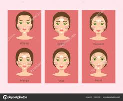 diffe woman face types vector ilration cosmetic face shapes cards character makeup beautiful banners stock ilration