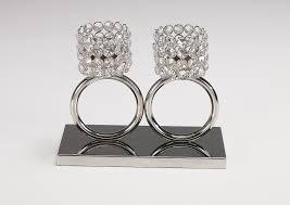 Kristall Kerzenständer Teelichthalter Louise 2 Ring Teelichthalter Kerzenhalter Kerzenleuchter Tischdeko Gastgeschenke Silber Weihnachten Weihnachten