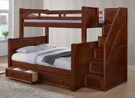 twin over full bunk bed with stairs. Dillon Twin Over Full Bunk With Stairs | Dark Pecan Step Bed