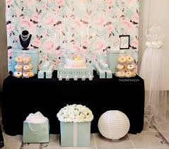 dessert table from a breakfast at tiffany s inspired bridal shower on kara s party ideas karaspartyideas