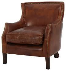 gdf studio tiller top grain vintage design brown leather club chair