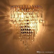 classic crystal chandelier wall light gold crystalline sconce lamp led foyer living room bedside glass from