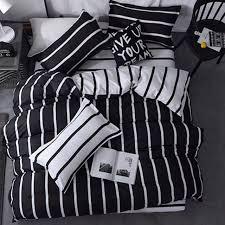 black white stripes cotton blend