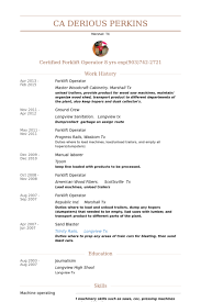 Forklift Operator Resume Samples VisualCV Resume Samples Database Mesmerizing Forklift Resume