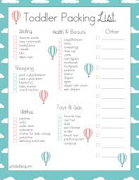 Free Toddler Travel Packing List
