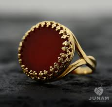 Charm Designer Band Red Carnelian Ring 18k Gold Plated Designer Band By