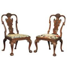 fine pair of george i walnut side chairs dining room