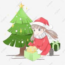 วาดด้วยมือ การ์ตูน สุขสันต์วันคริสต์มาส ต้นคริสต์มาส, ของขวัญ, กล่อง,  สีแดงภาพ PNG และ PSD สำหรับดาวน์โหลดฟรี