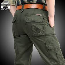 NIANJEEP Cargo Pants Mens Cotton Military Multi-pockets Baggy ...