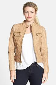 image of michael michael kors front zip leather moto jacket