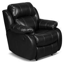 Omega 3 Leather-Look Fabric <b>Reclining Chair</b> – <b>Black</b> | The Brick